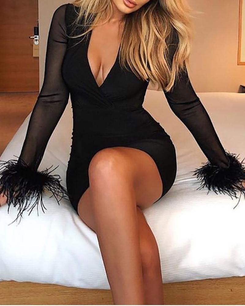 Mesh Patchwork Feather Cuff Dress фото