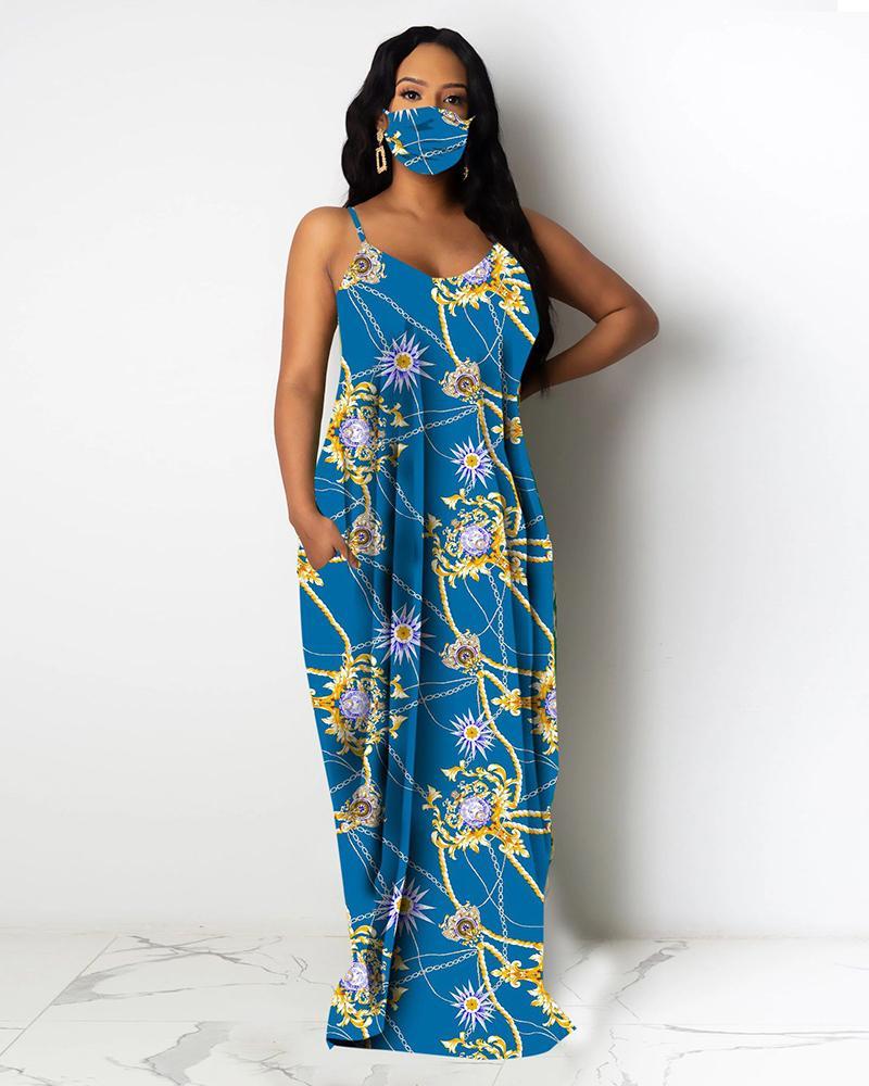 Chain Floral Print Pocket Design Maxi Dress фото
