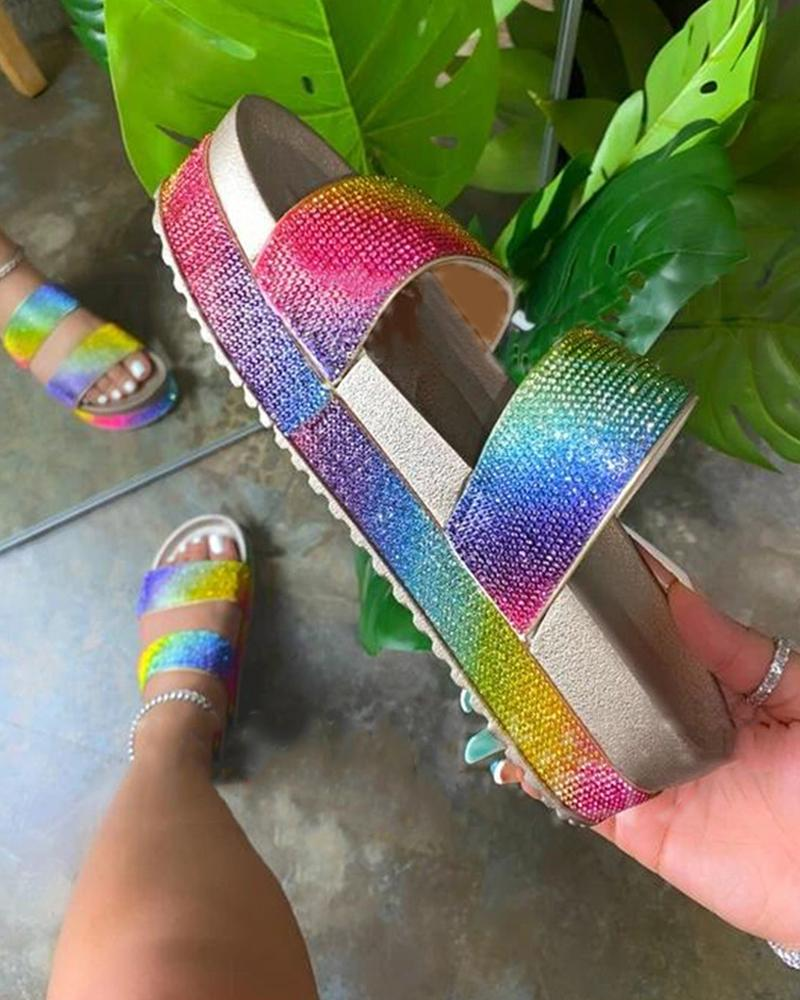 Rainbow Peep Toe Sequins Flat Sandals фото