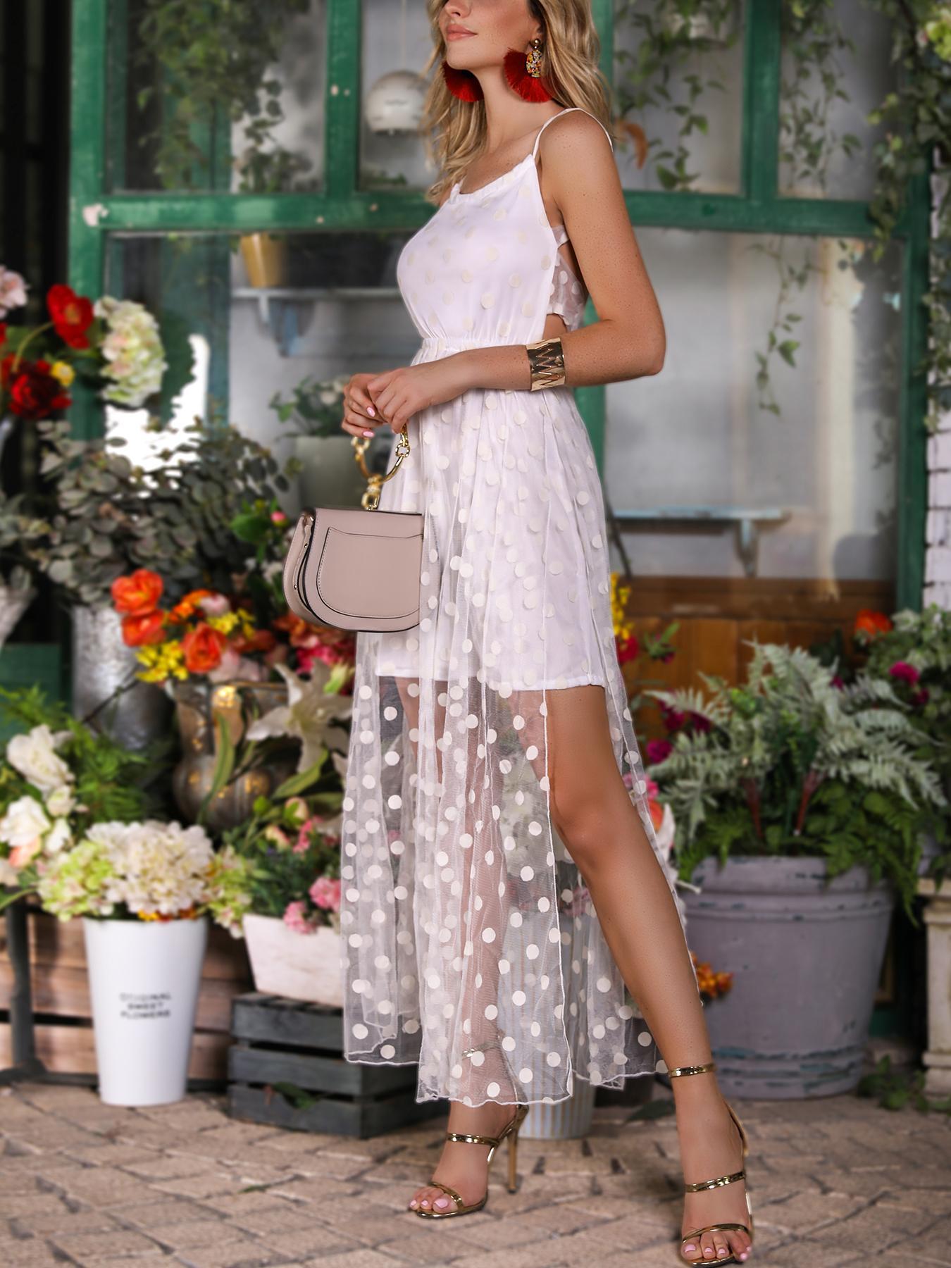 Dots Sheer Mesh Splicing Backless Slip Dress