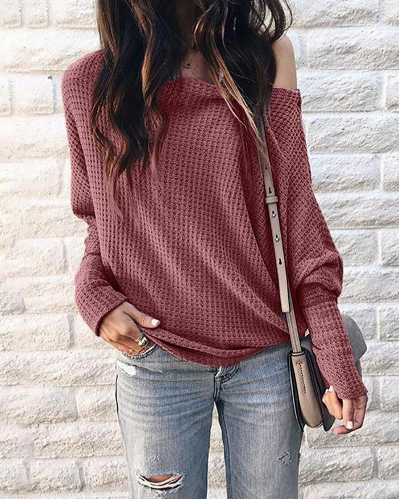 Fall / Winter off Shoulder Casual Hollow Out cotton blends Blouse Top фото