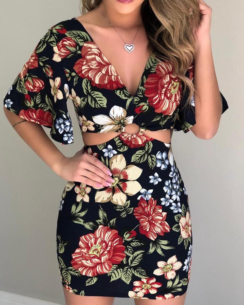 Floral Print Cut Out Mini Dress фото
