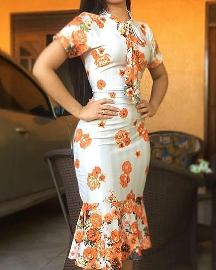 Floral Print Tied Neck Fishtail Bodycon Dress, Orange