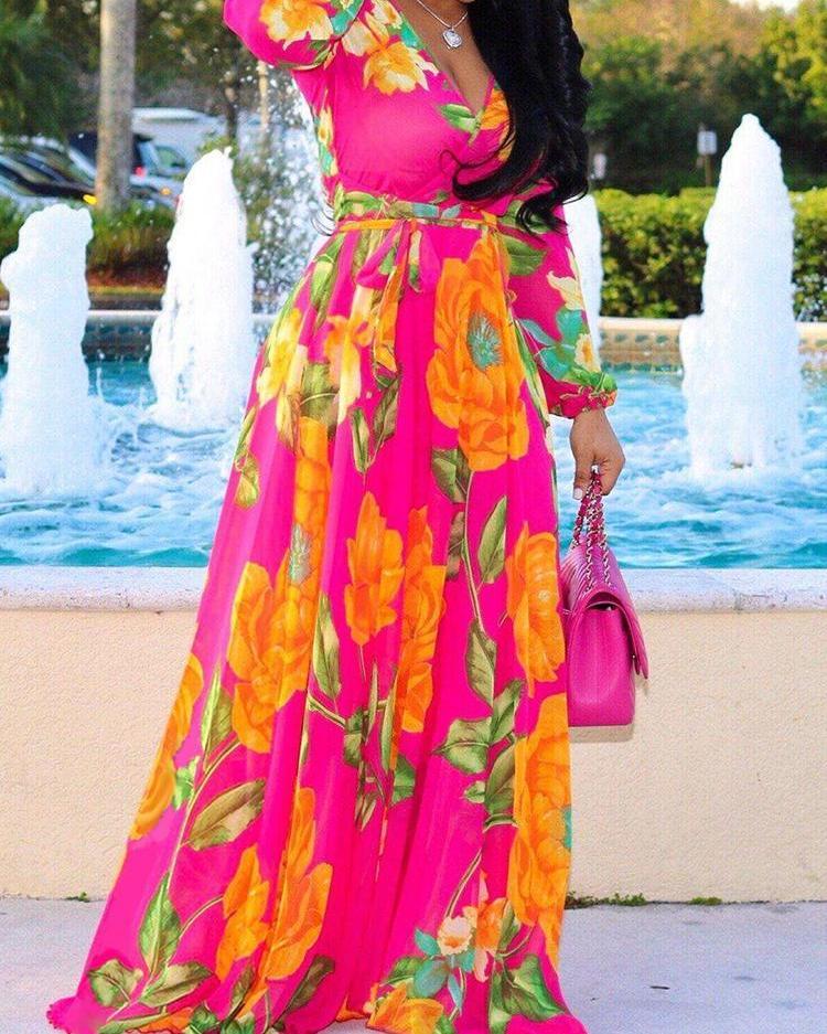 Tropical Print Deep V Belted Warp Maxi Dress фото
