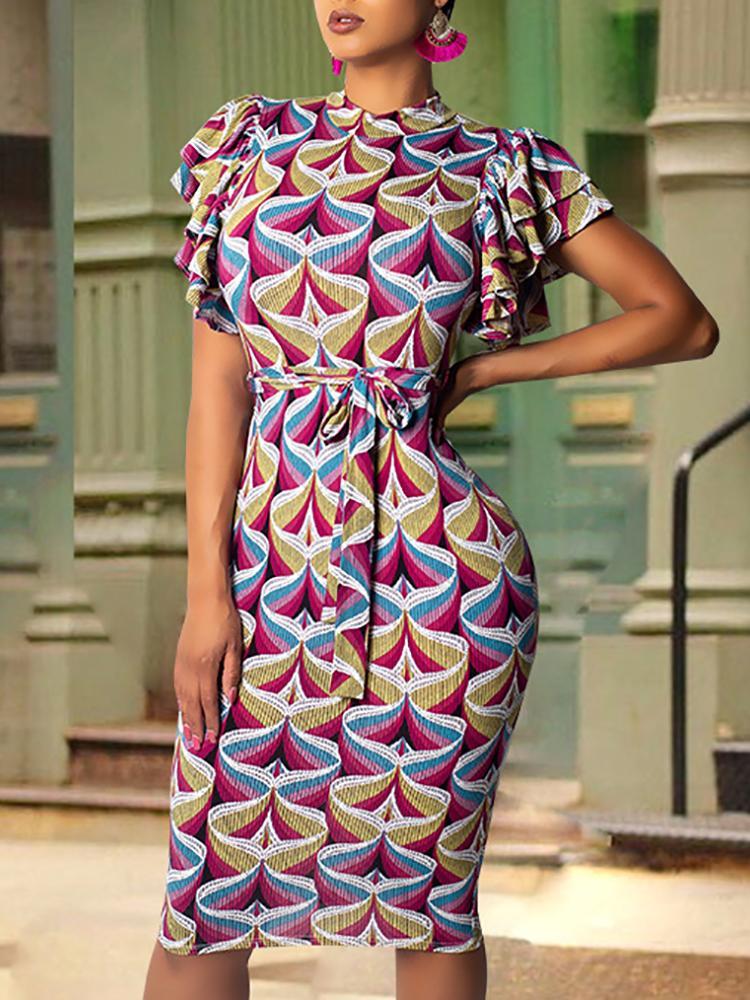 joyshoetique / Abstract Geo Print Flutter Sleeve Midi Dress