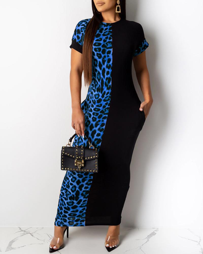 Leopard Patchwork Short Sleeve Dress фото