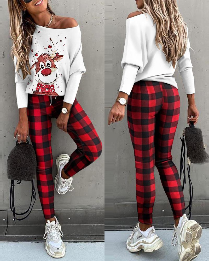 joyshoetique / Christmas Batwing Sleeve Top & Plaid Drawstring Pants Set