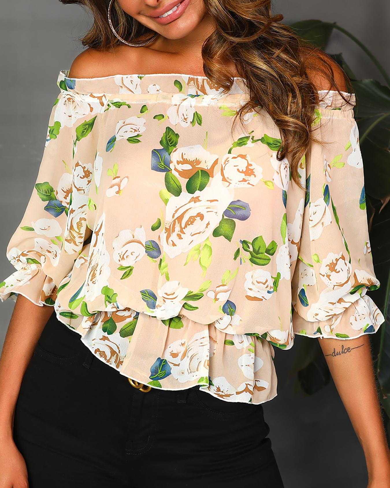 Ruffles Off Shoulder Floral Print Blouse фото