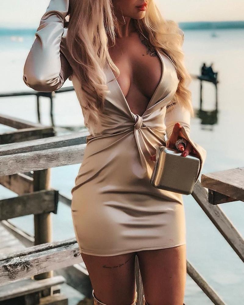 Plunge Twisted Design Slit Cuff Dress фото