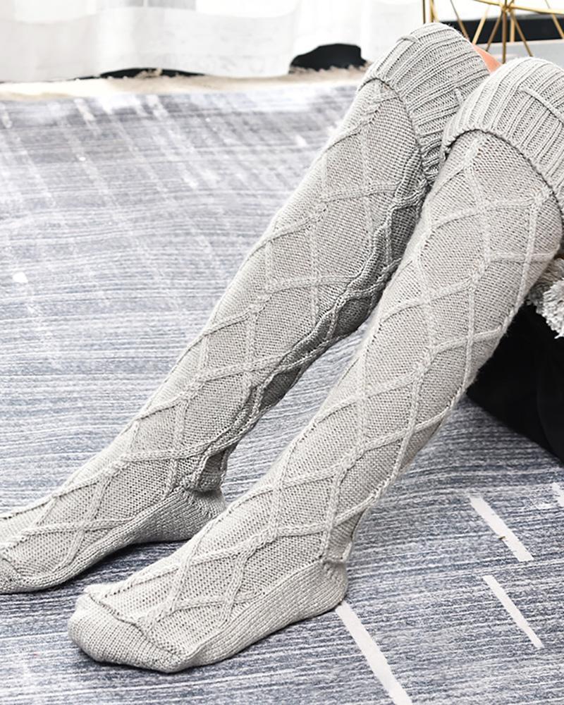 chicme / Pom Pom Braided Knee Length Socks