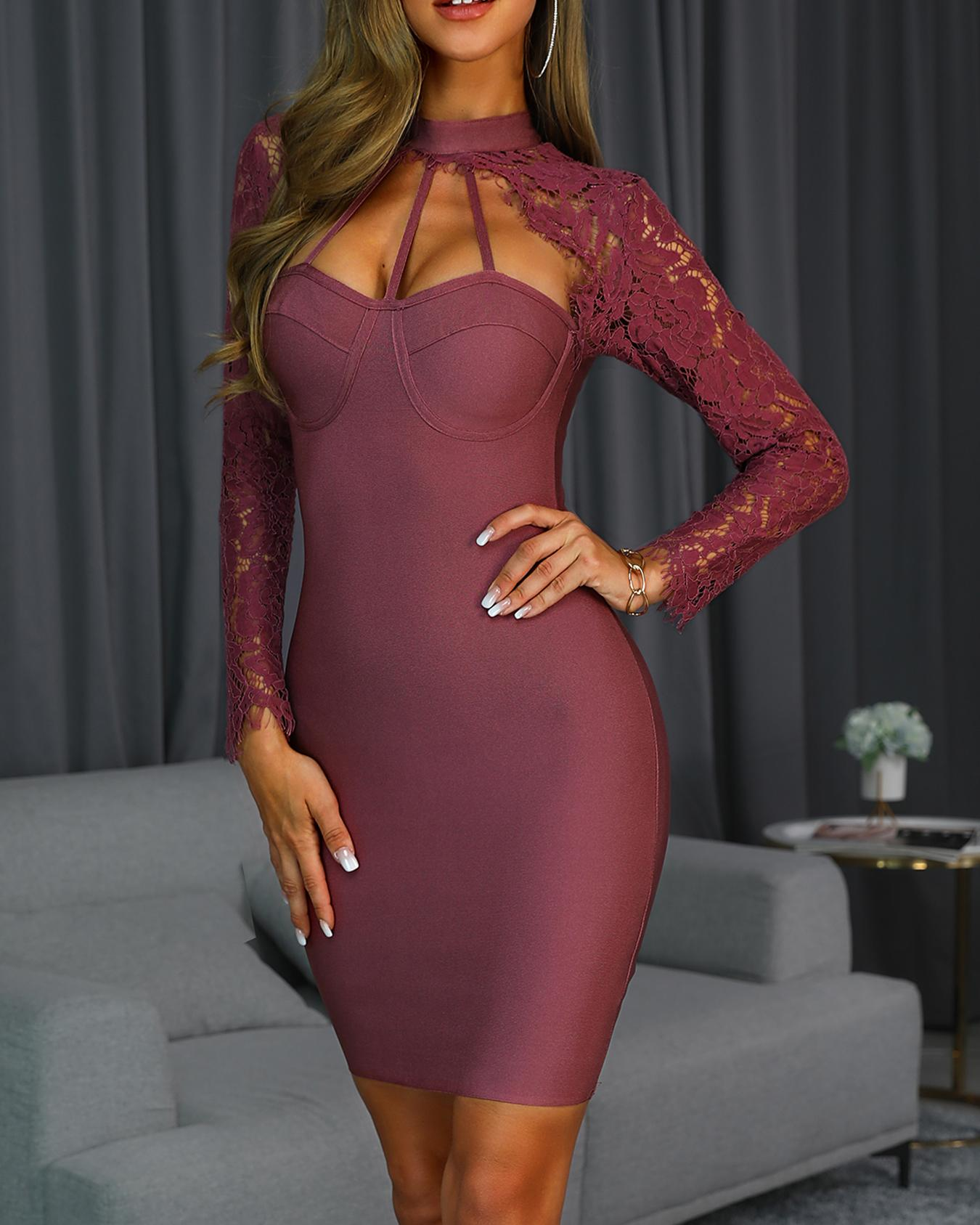 Caged Neck Lace Sleeve Bodycon Dress, Purple