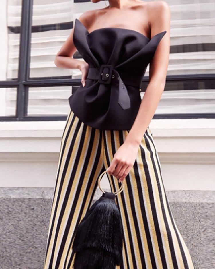joyshoetique / Strapless Fold Pleat Belted Top
