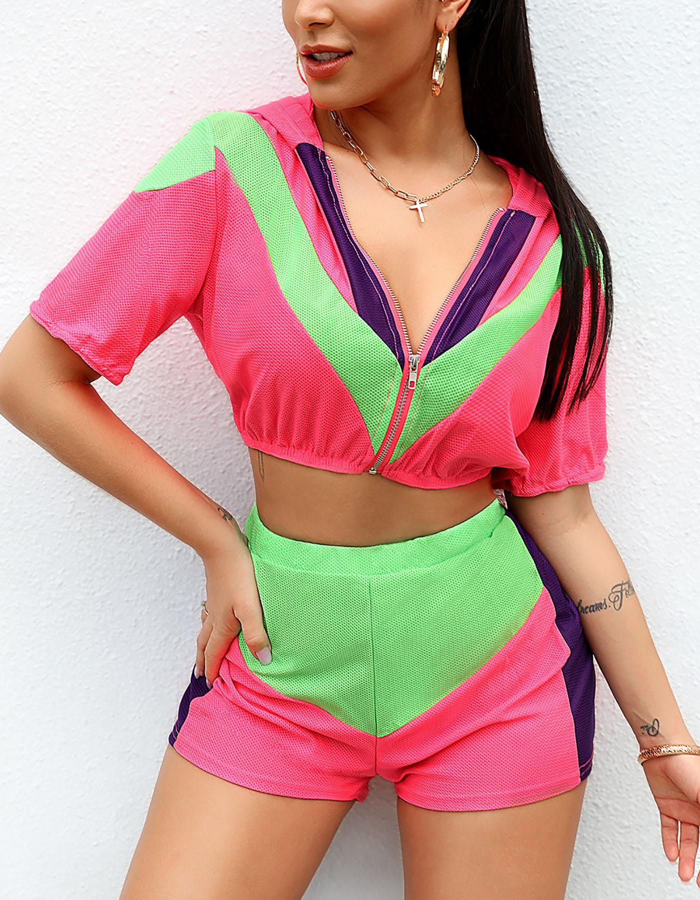 boutiquefeel / Terno de malha multicolor de costura de malha