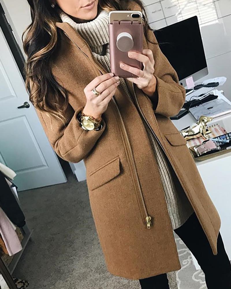Solid Stand Collar Zipper Pocket Wool Coat фото