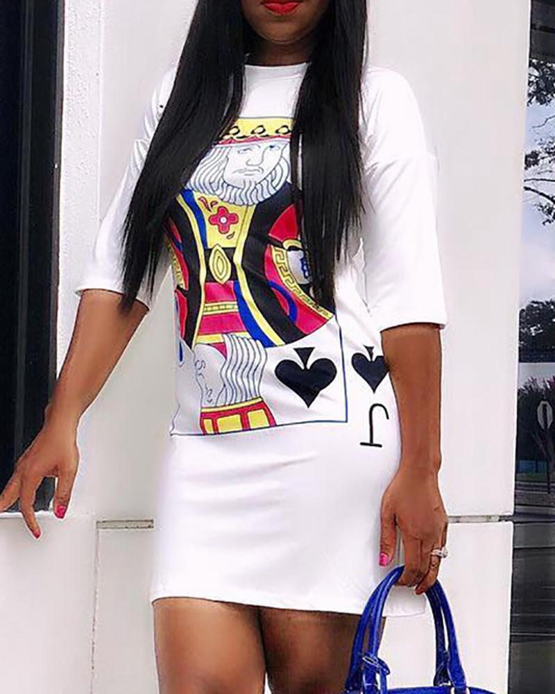 Poker-Face Print Casual T-Shirt Dress фото