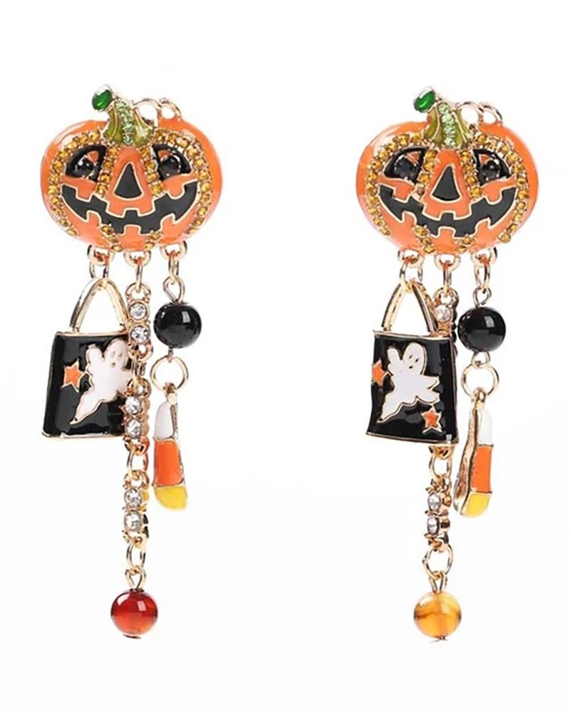 Halloween Pumpkin Pattern Studded Drop Dangle Earrings