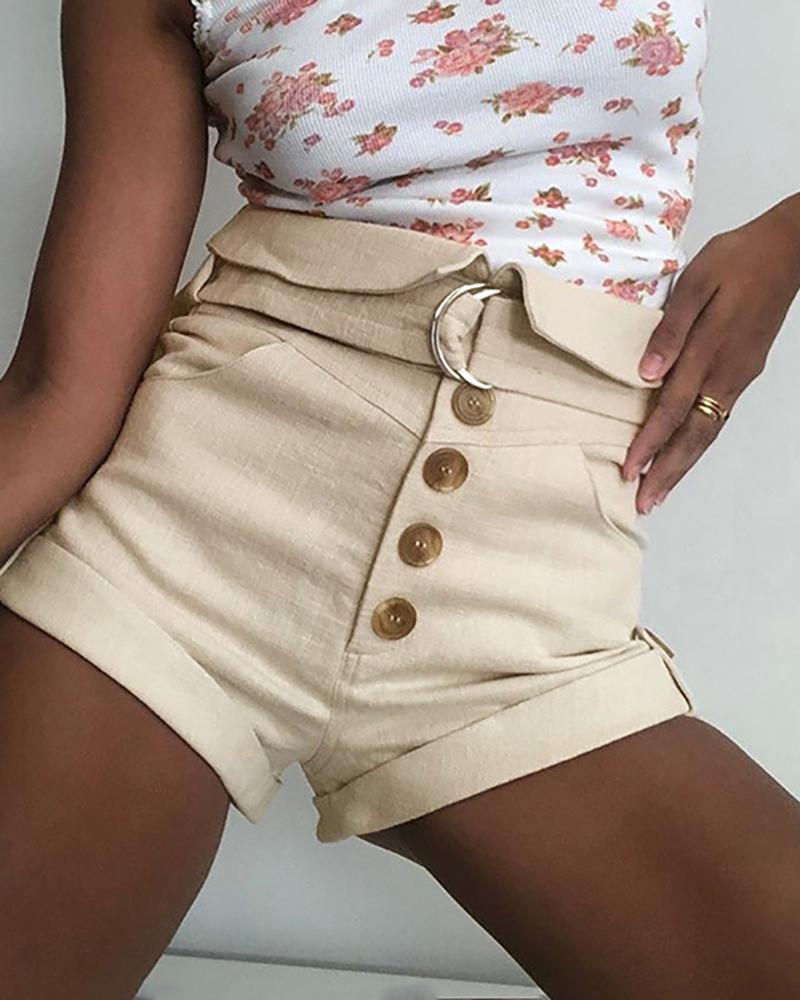 ivrose / Shorts casuales con diseño de bolsillo abotonado
