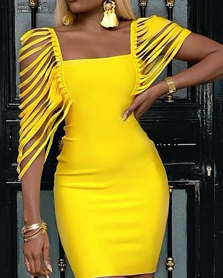 boutiquefeel / Quadrado pescoço borla embelezado vestido Bodycon