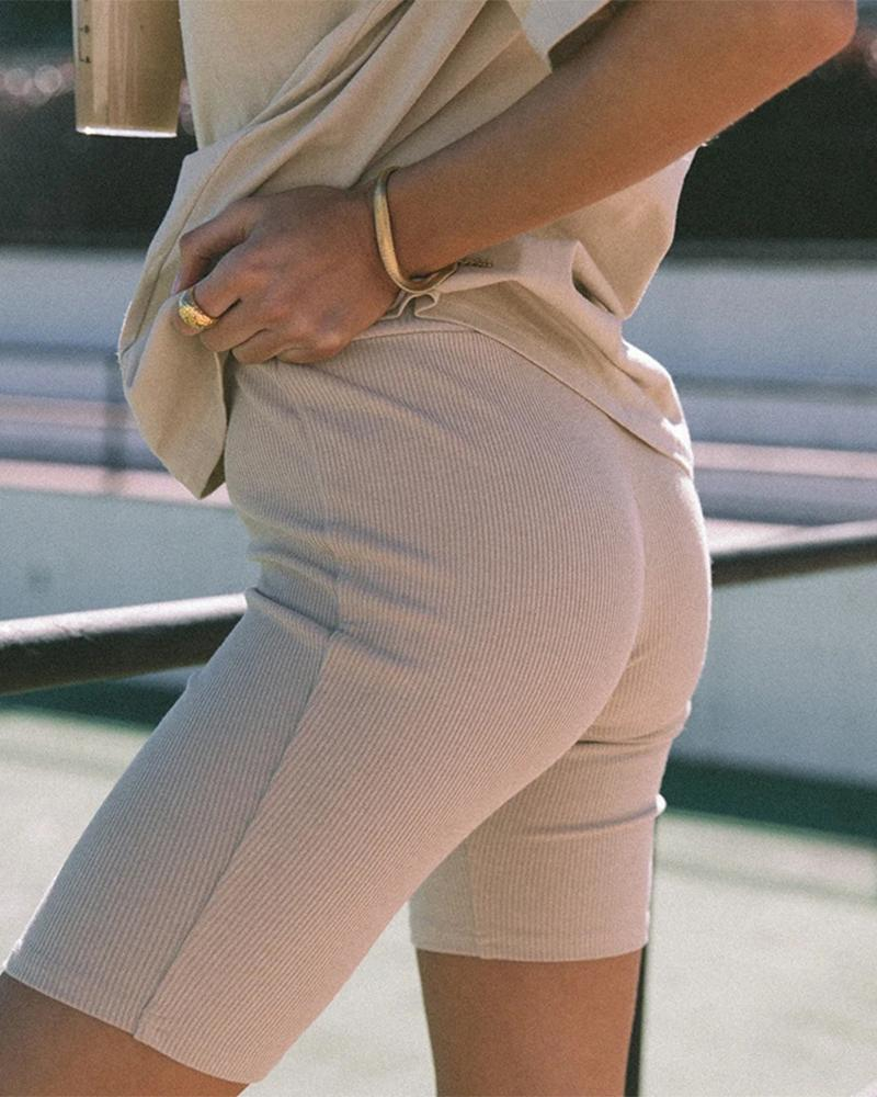 Solid Ribbed High Waist Fitted Shotrs фото