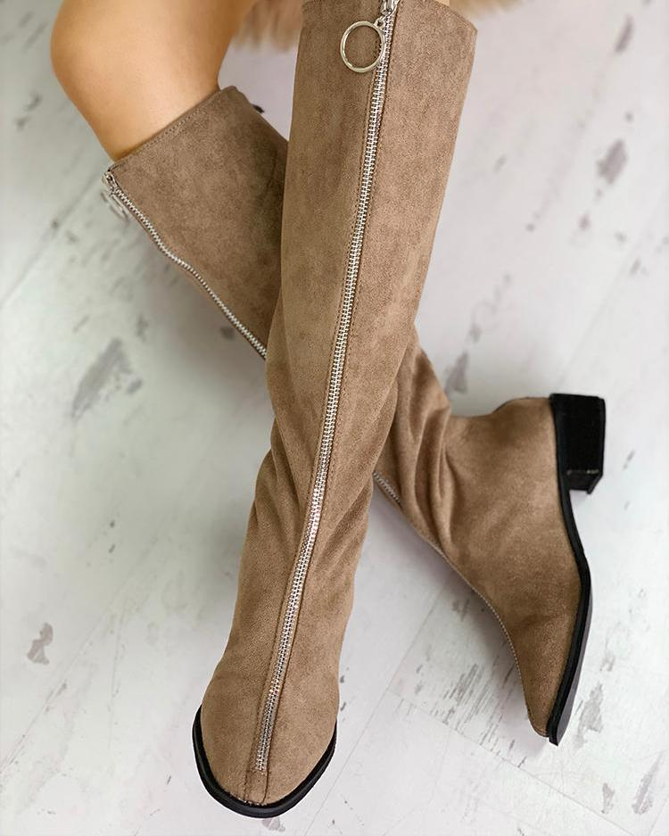 O-Ring Zipper Design Suede Boots