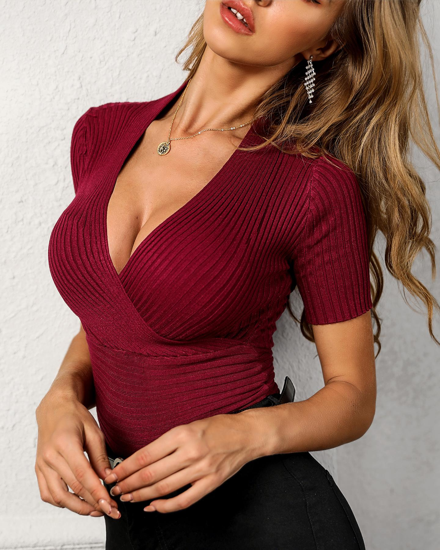 Solid V-Neck Short Sleeve Sweater фото