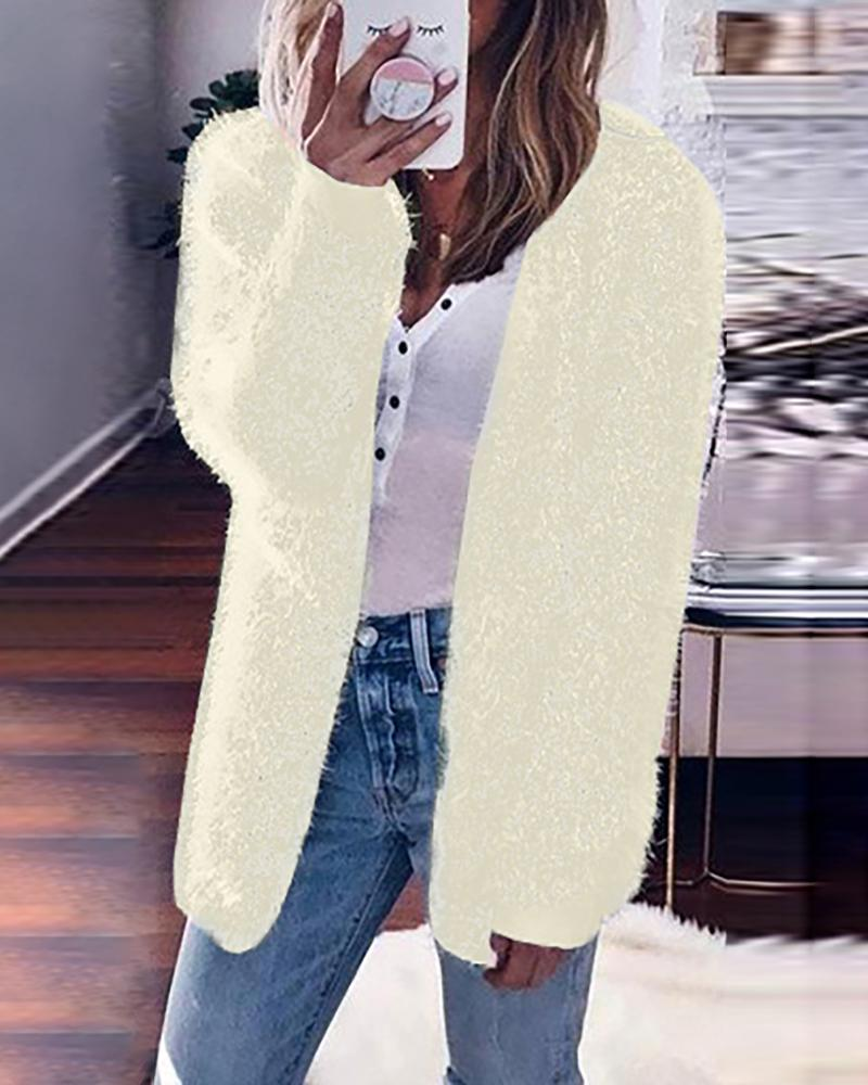 Solid Fluffy Long Sleeve Casual Cardigan фото