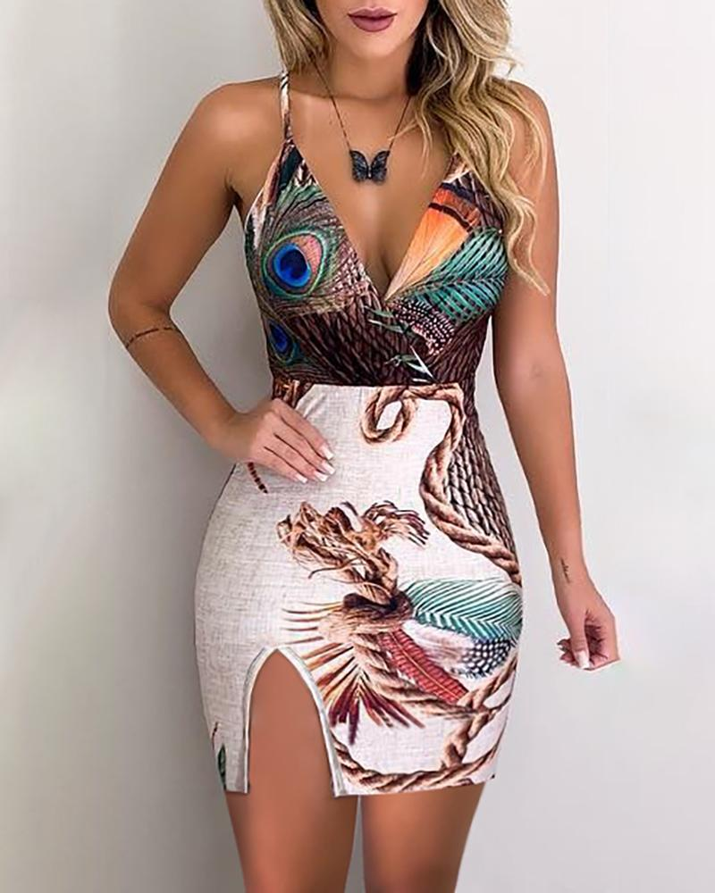 Peacock Feather Print Slit Bodycon Dress