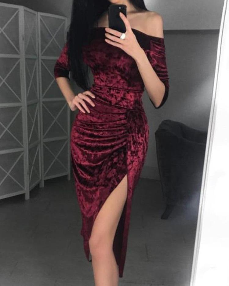 ivrose / Velvet Off Shoulder Ruched Thigh Slit Dress
