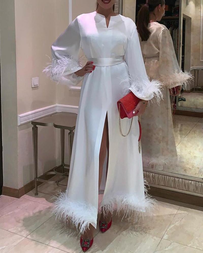 chicme / Vestido de corte liso con corte de plumas y escote en V