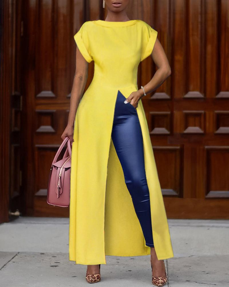 Short Sleeve Solid Color High Split Top, Yellow