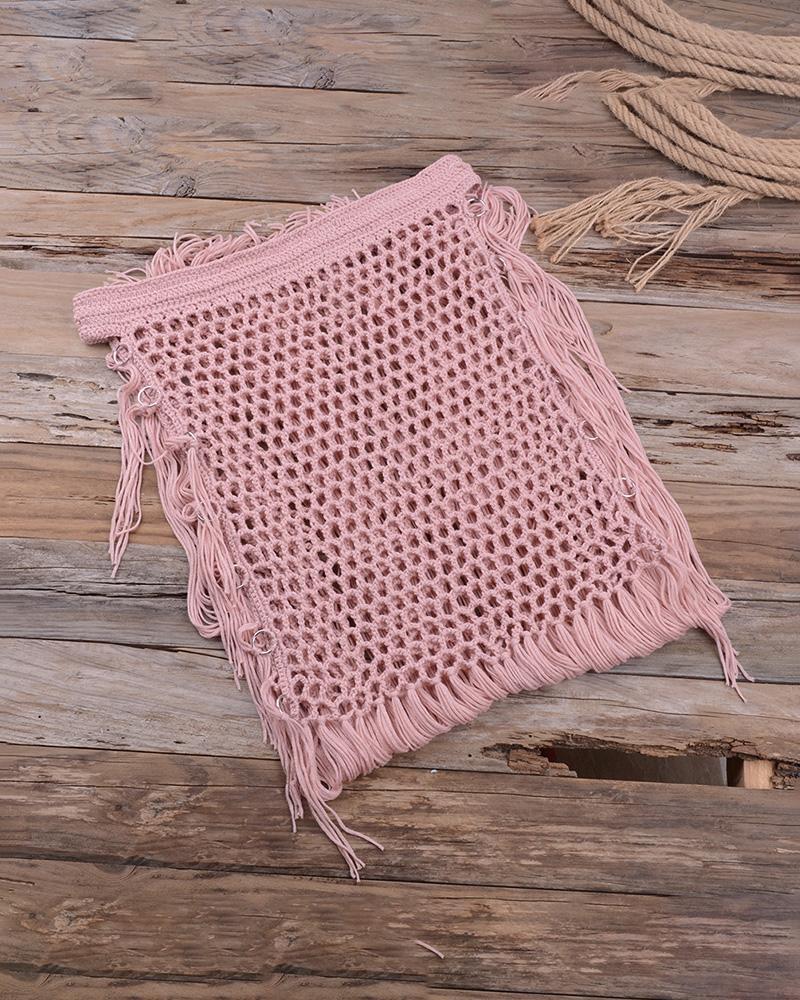 Crochet Hollow Out Tassel Swimwear Skirt фото