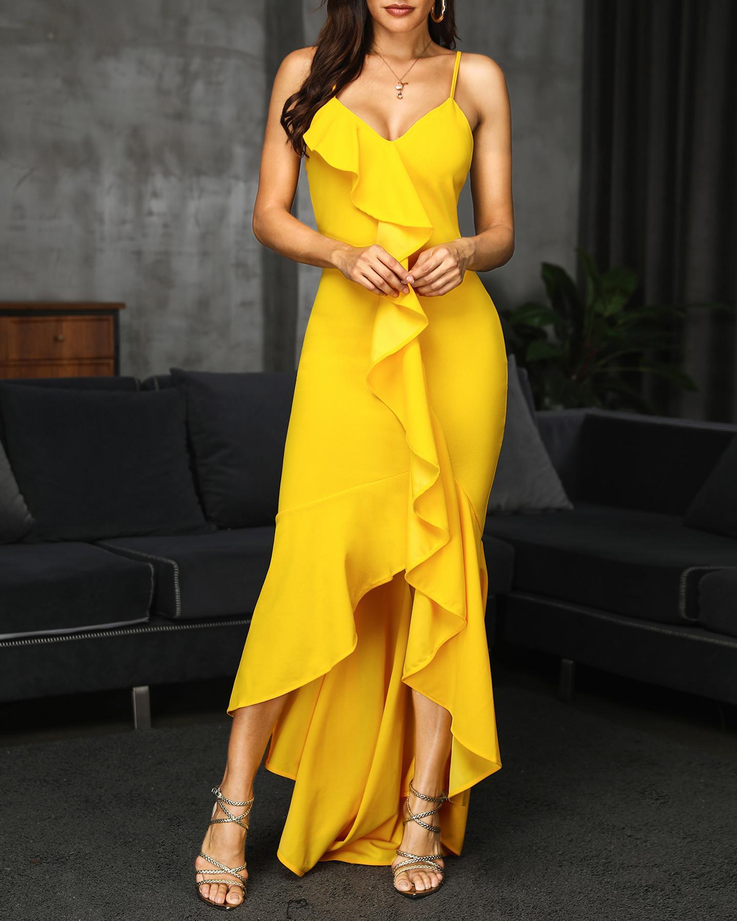 Spaghetti Strap Ruffles Design Irregular Dress