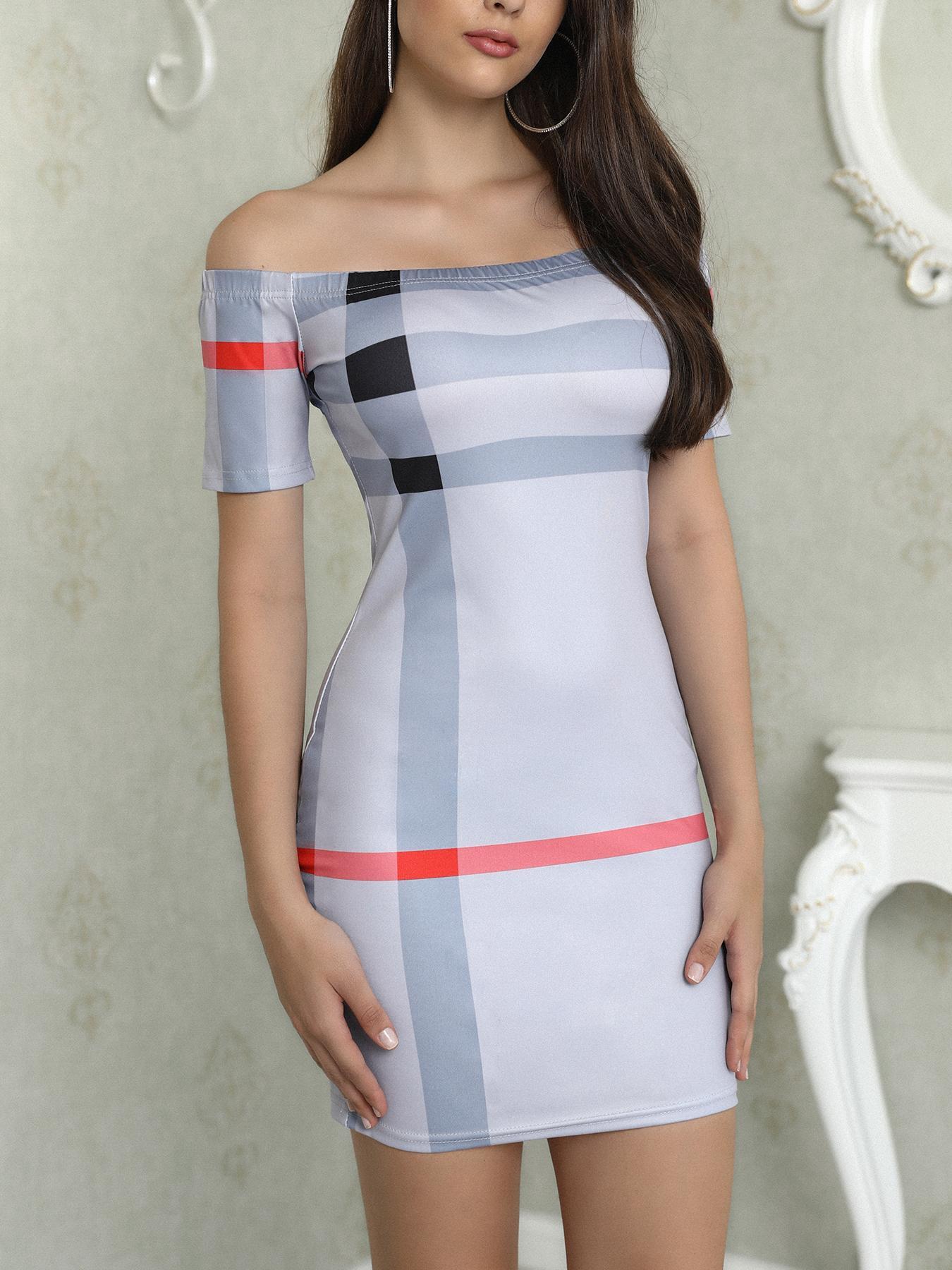 Off Shoulder Striped Plaid Print Sheath Mini Dress