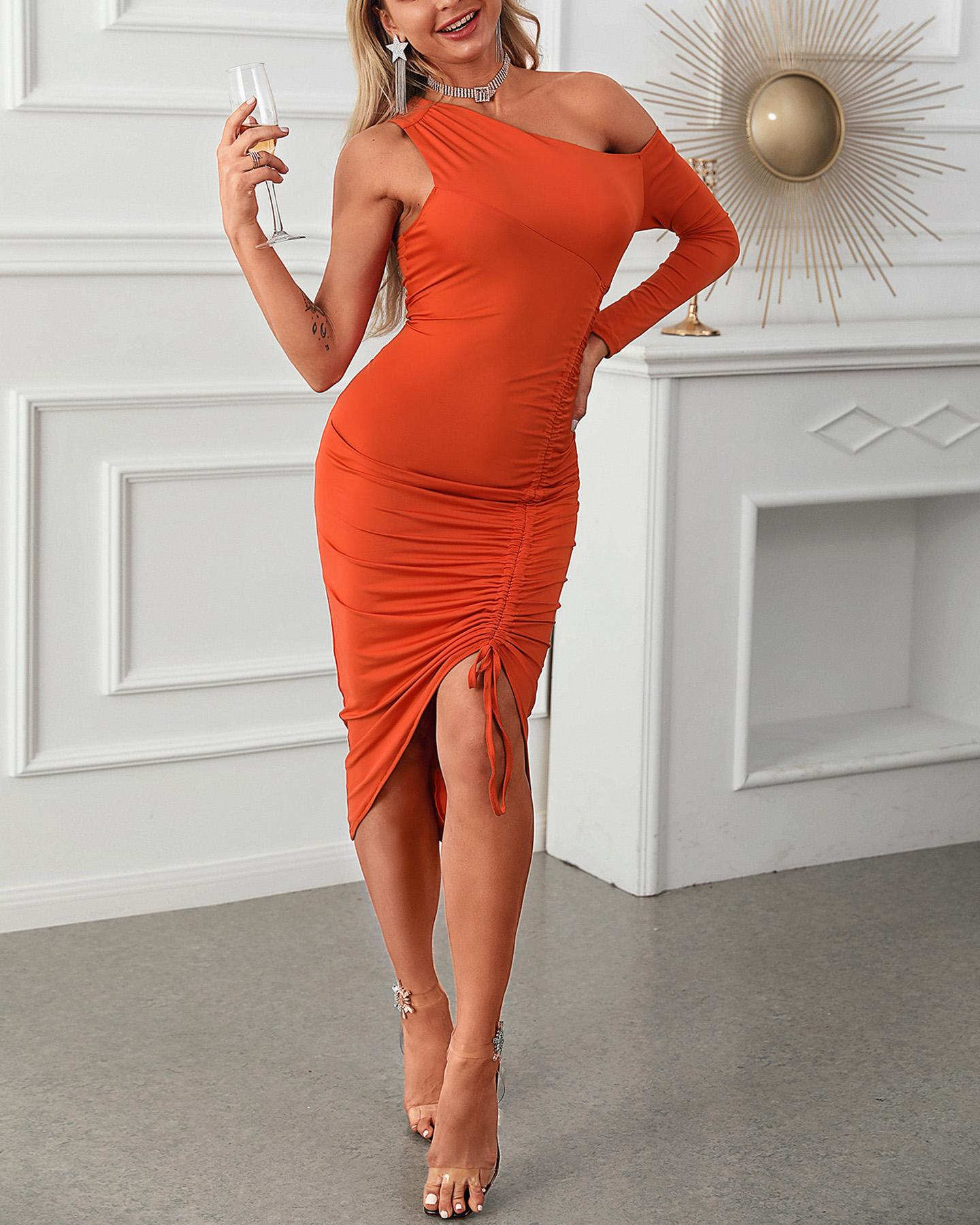 chicme / Ruched Drawstring One Shoulder Party Dress