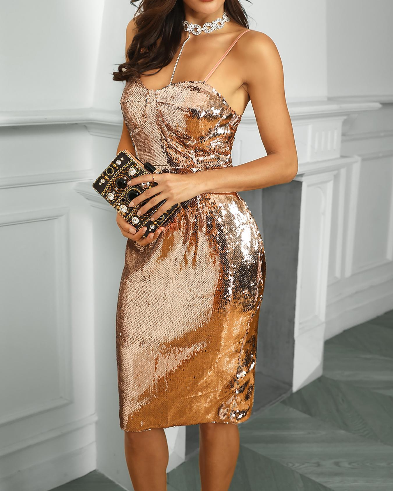 Spaghetti Strap Sequin Party Dress фото