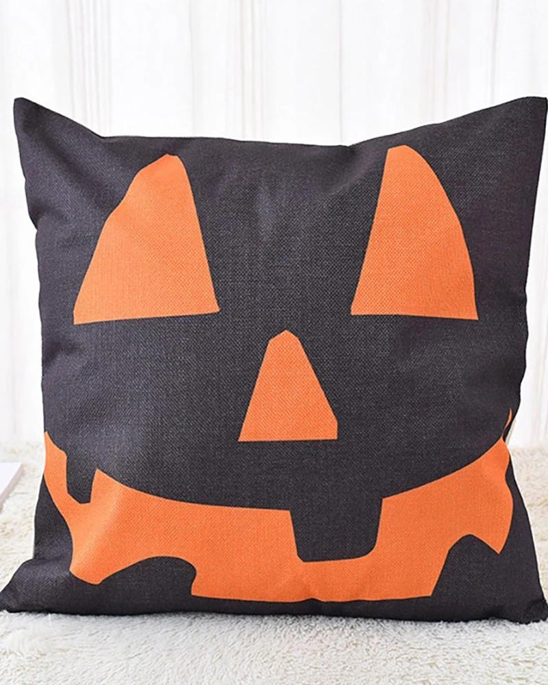 Halloween Witch / Letter / Striped Print Cushion Cover Without Filler фото