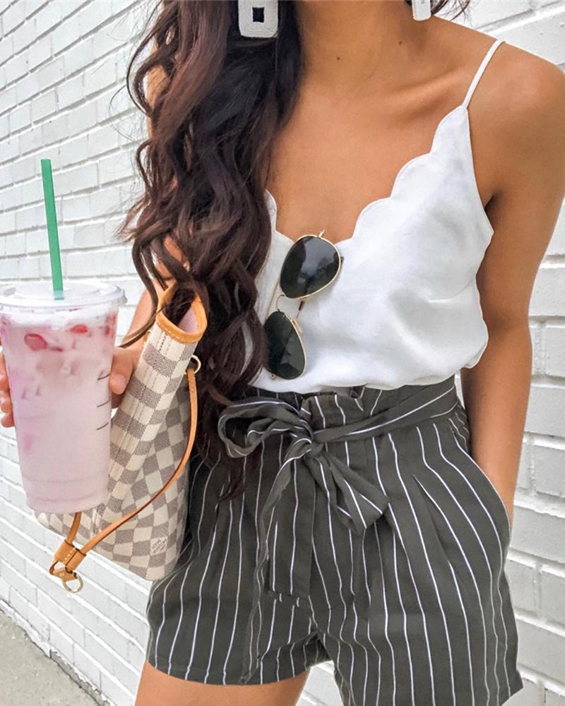 ivrose / Striped Paperbag Waist Casual Shorts