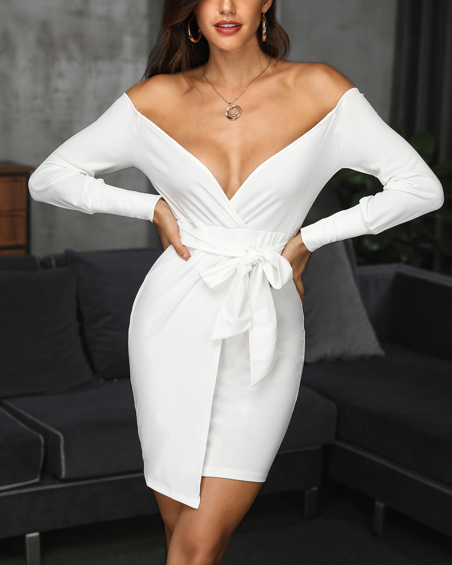 Off Shoulder Long Sleeve Tied Waist Dress фото