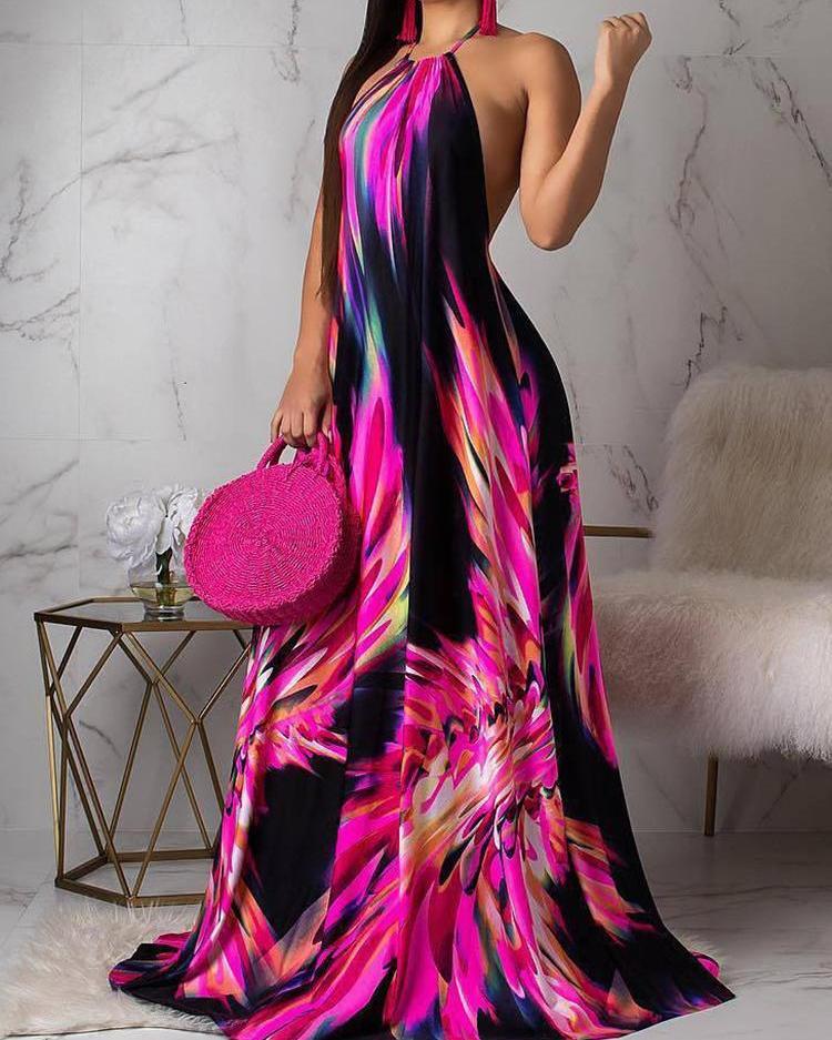 ivrose / Halter Colorful Print Open Back Maxi Dress