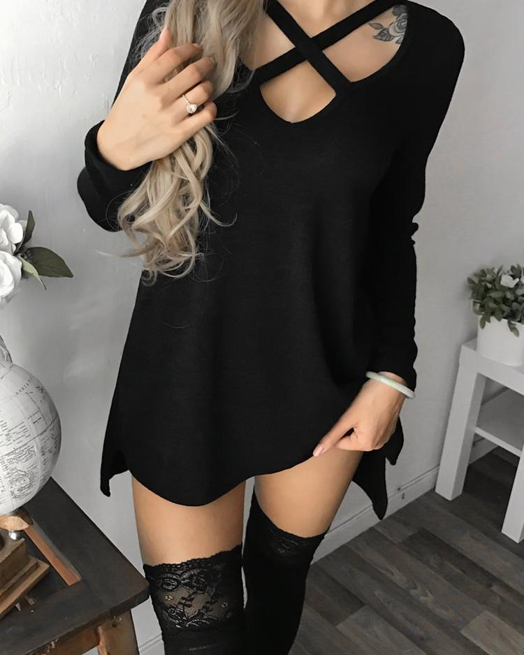 Купить со скидкой V Neck Hollow Out Long Sleeve Casual Dress