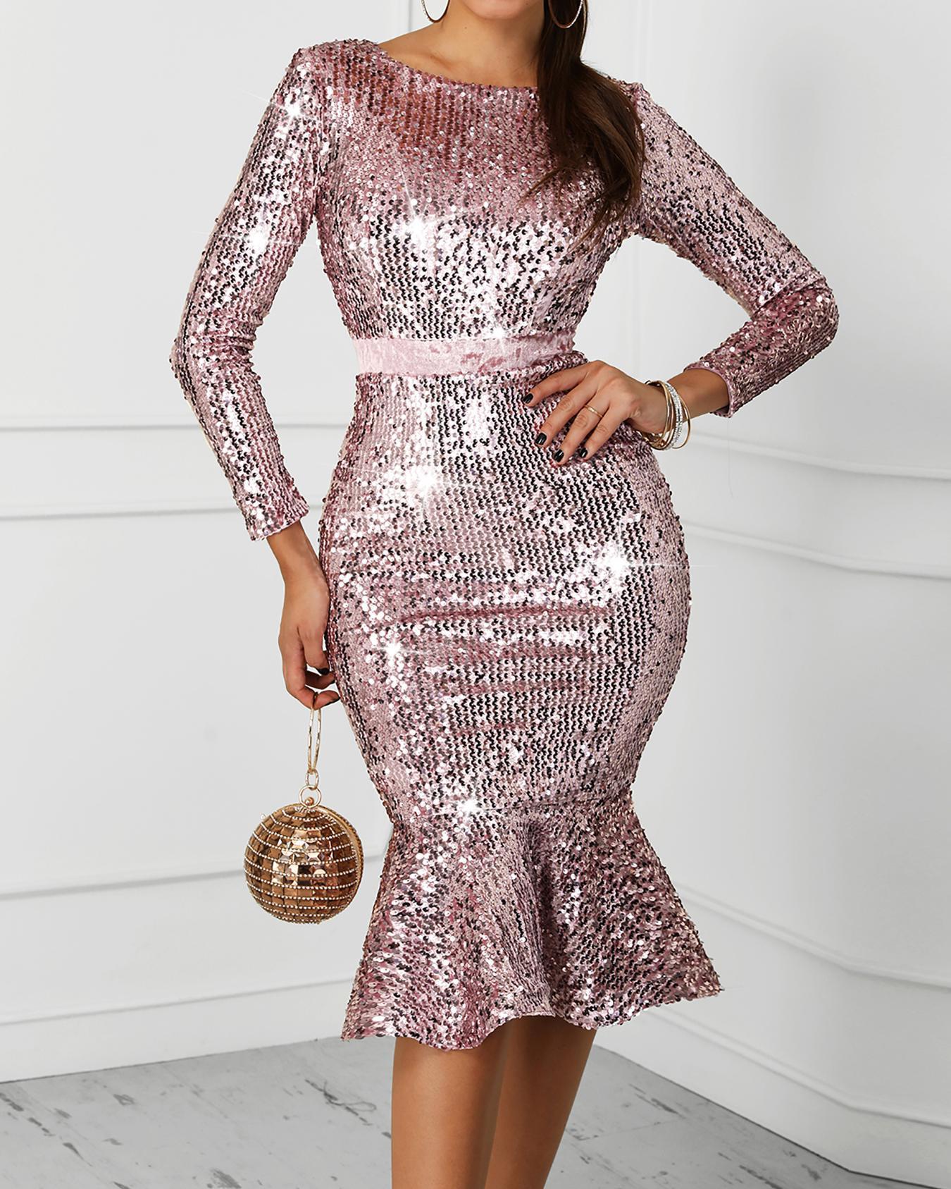 Mesh Waist Fishtail Sequin Party Dress