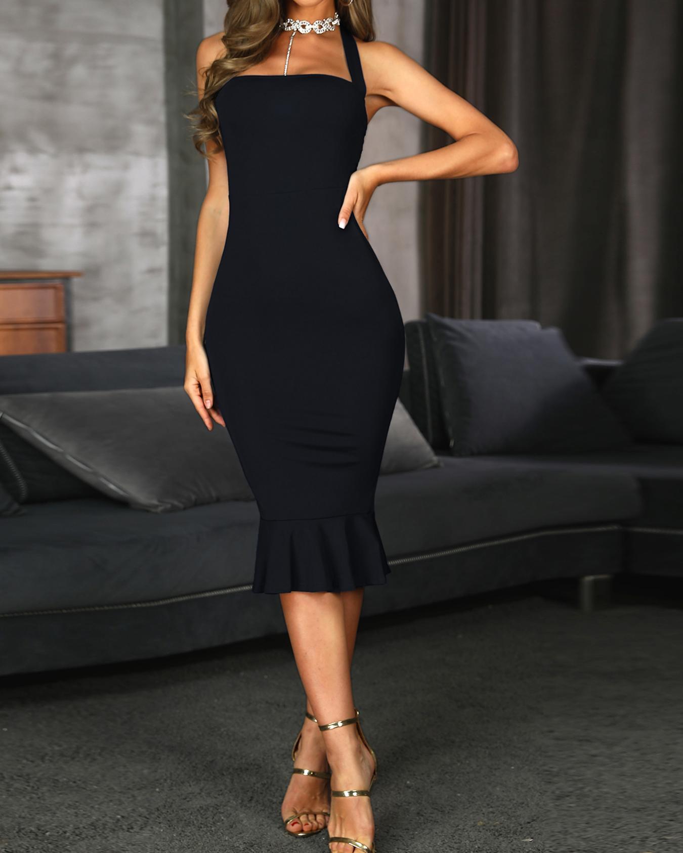 Solid Halter Fishtail Hem Party Dress, Black
