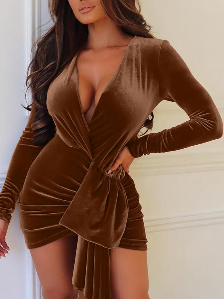 Velvet Plunge Scrunched Irregular Party Dress