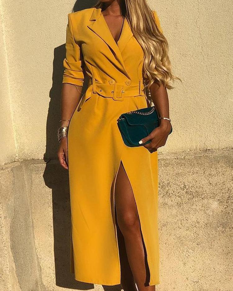 joyshoetique / Solid Self Belted Slit Blazer Dress