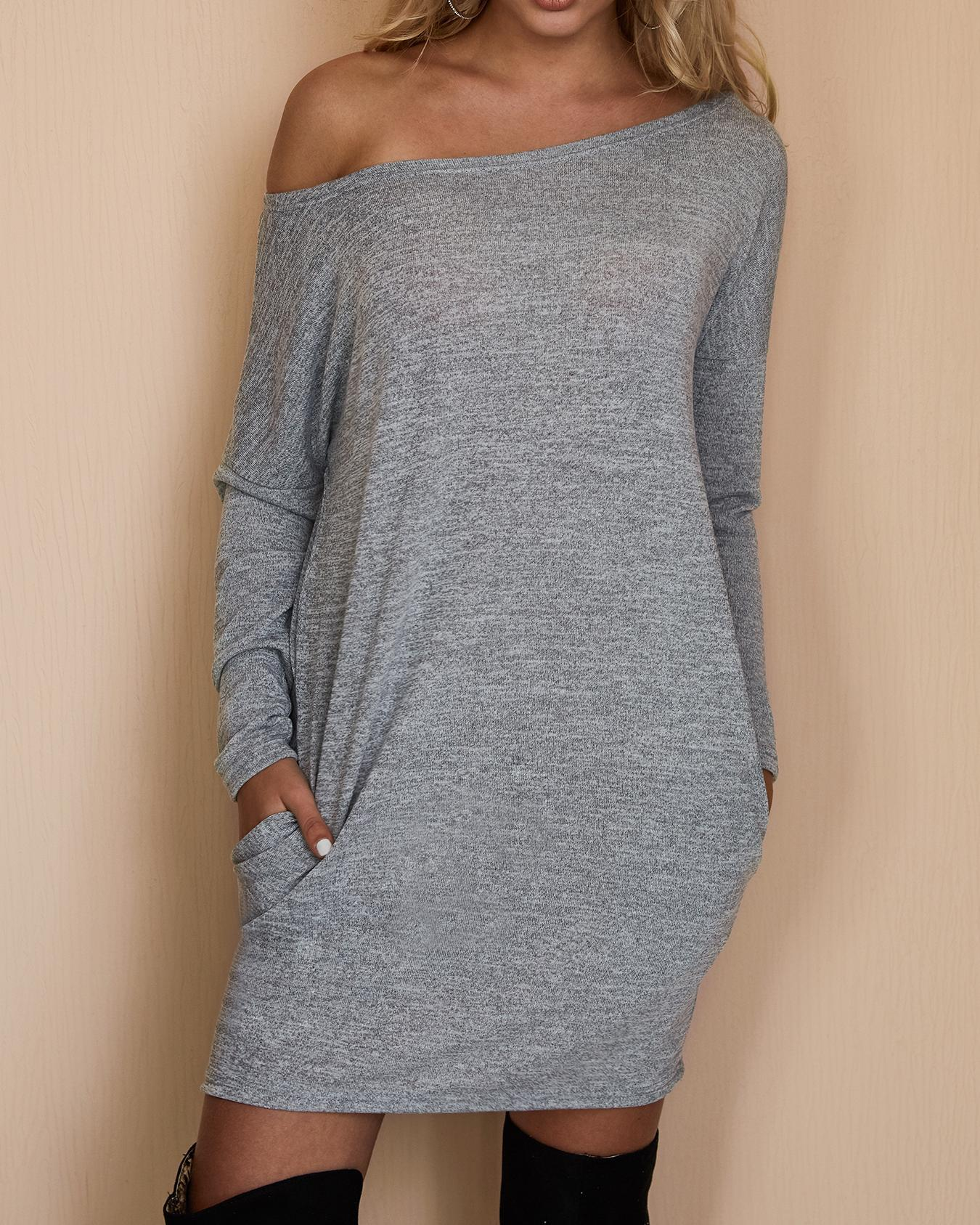 chicme / Crew Neck Tunic Sweatshirt Dress
