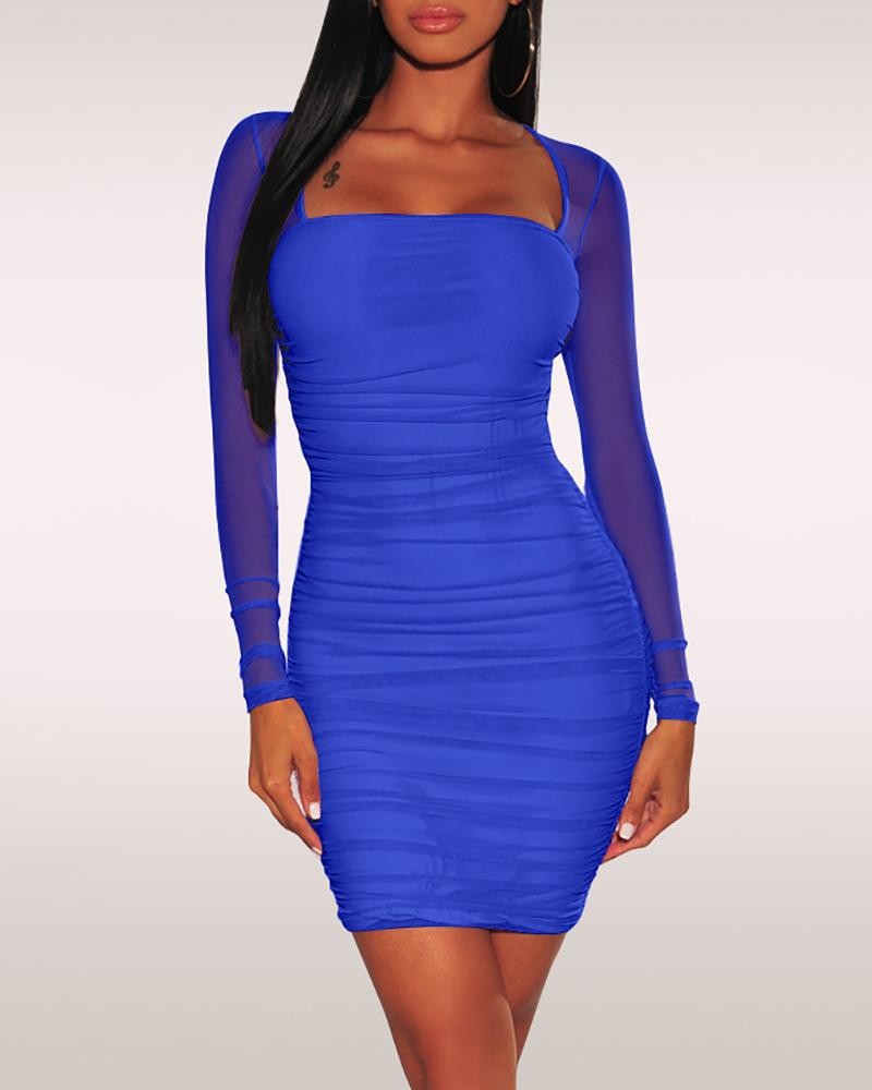 Solid Mesh Sleeve Bodycon Dress фото