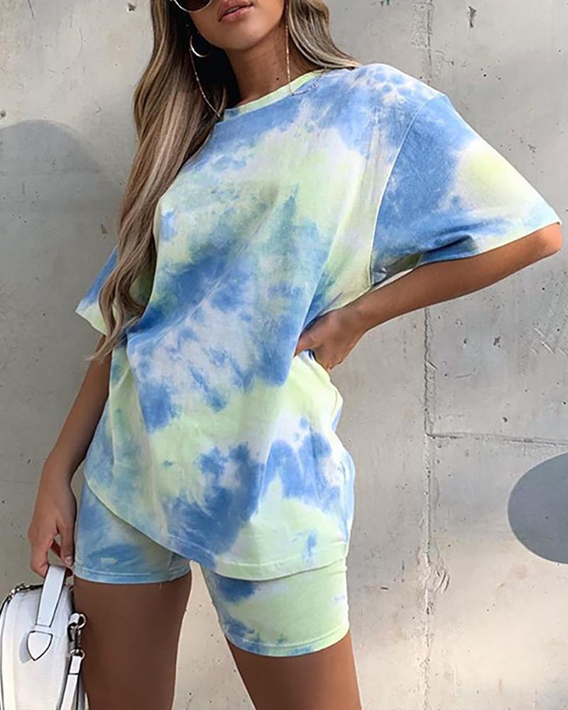 Tie Dye Print Short Sleeve Casual Top & Shorts Set фото