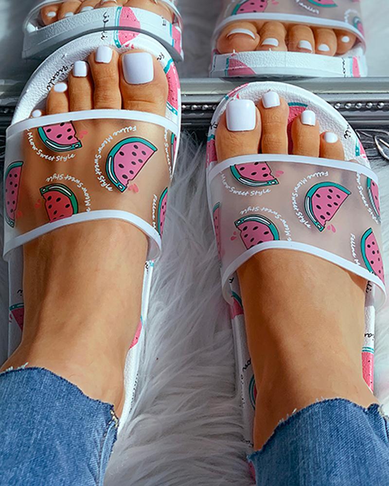 Transparent Fruits Pattern Open Toe Flat Sandals фото