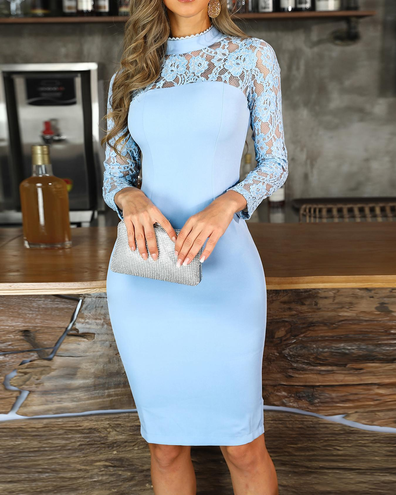 Mock Neck Lace Yoke Bodycon Dress