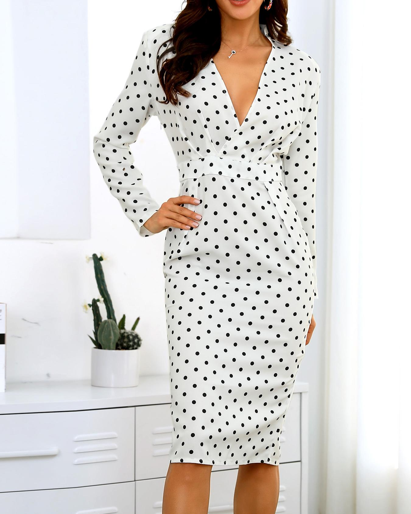 Dots Puffed Sleeve Formal Dress, White